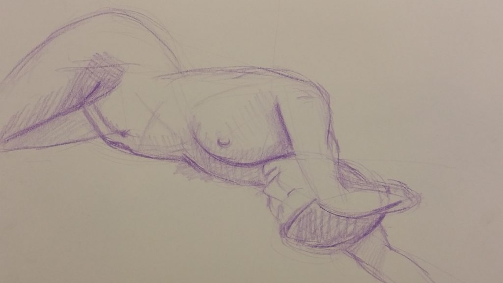 Reclining nude - Colour pencil on paper, 15 Minutes